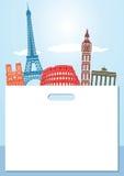 European landmarks background Stock Illustration