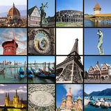 European landmarks collage. European landmarks collection - lake Lugano, Rome, Florence and Venice in Italy; Paris in France;Moscow in Russia; Prague in Czcech royalty free stock image