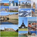 European landmarks. Europe landmarks set - tourism attractions collage including London, Oslo, Paris, Rome, Florence, Vienna, Belgrade, Kiev, Greece and Alps Stock Image