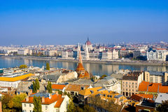 European landmarks. Panoramic view of Budapest with bell towers of the St. Anne`s Church and Parliament Stock Images