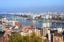 European landmarks. Panoramic view of Budapest with bell towers of the St. Anne`s Church and Parliament Stock Photography