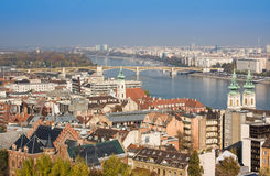 European landmarks. Panoramic view of Budapest with bell towers of the St. Anne`s Church and Parliament Stock Photos