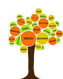 European language tree. Symbol of European day of languages. Say hello in different languages Royalty Free Stock Images