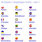 European Languages No 1. Set of 18 icons illustrating some of European languages and dialects with flags Royalty Free Stock Photography