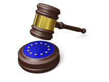 European law. Gavel and symbol of European Union isolated on white background, concept of european law Royalty Free Stock Photo