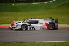 European Le Mans Series Ginetta - Nissan at Imola. Ginetta - Nissan nr.3 at the 'Acque Minerali' corner of Imola circuit during Saturday Practice session in LMP3 Stock Image