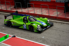 European Le Mans Series LMP2 Prototype at Imola 2015. Ligier JSmP2 Judd Prototype nr.40 at the pit lane of Imola circuit during Saturday Practice session in LMP2 Stock Photo