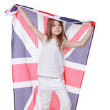 European little gir holding UK flag Royalty Free Stock Image