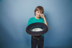 European-looking boy of ten years beggar, poor Stock Images