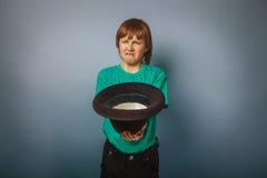 European-looking  boy  of ten years beggar, poor Royalty Free Stock Photos