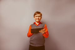 European -looking  boy of ten  years in glasses Stock Photography