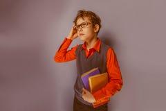 European-looking boy  of ten years  in glasses Stock Photos