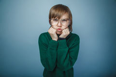 European-looking boy of ten years grudge against a Stock Image