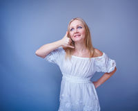 European-looking woman of thirty years gesture Royalty Free Stock Photo