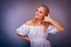 European -looking  woman of  thirty years  gesture Royalty Free Stock Photography