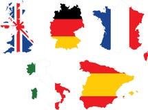 European Major Flags Royalty Free Stock Photo