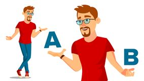 European Man Comparing A With B Vector. Good Idea. Carrying A Balance. Blogger Review. Compare And Choose. Isolated Flat. European Man Comparing A With B Vector royalty free illustration