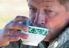 European man drinks tea Royalty Free Stock Photos