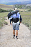European man tourist walking with backpack, Roraima, Venezuela Royalty Free Stock Photo