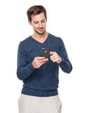 European man use cellphone for read message Stock Photo