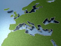 European map. Three dimensional illustration of European and North African map with textured surface Royalty Free Stock Photo