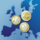European map Euro coins. Euro coins overlaid on a map of Europe Royalty Free Stock Photos