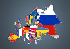 European map with national borders with countries flags Royalty Free Stock Images