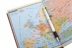 European map and pen. Map, pen, book Stock Photos