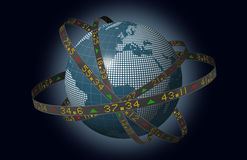 European markets globe with orbiting stock tickers. Stylized world markets with globe and orbiting ribbons displaying sliding stock market tickers Royalty Free Stock Photography