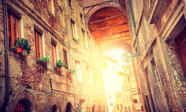 European medieval city, Italy - Siena street Stock Photo