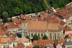 European medieval city view. Miniature tilt shift lens effect Royalty Free Stock Image