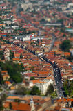 European medieval city view. Miniature tilt shift lens effect Stock Image