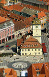 European medieval city view. Miniature tilt shift lens effect Royalty Free Stock Photos