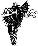 European medieval dragon. Stylish silhouette of dragon. Good for tatoo or Halloween design Royalty Free Stock Photography
