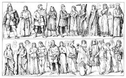 European middle ages clothing. Medieval clothing, German traditional wear in XIV century, middle and upper class Royalty Free Stock Photography