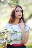 European model with clear beautiful face wearing silver accessory. Spring jewelry collection. The european model with clear beautiful face wearing silver royalty free stock photo