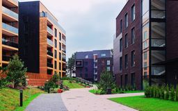 European Modern residential buildings quarter. Other outdoor facilities royalty free stock photography