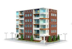European modern residential complex. outdoors. 3d illustration royalty free illustration