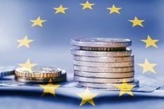 European monetary union. Coins stack royalty free stock image
