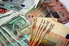 European money. Bulgarian,romanian and euro bills close up Stock Image