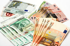 European money. Bulgarian,romanian and euro bills close up Stock Images