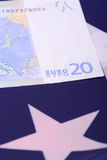 European money on american flag Royalty Free Stock Photos