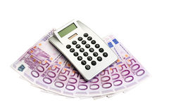 European money and calculator Stock Photography