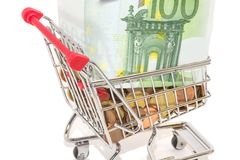 European money and coins in the shopping cart Stock Images