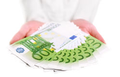 European money in hands Royalty Free Stock Images