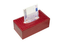 European money-napkins. European money in a red box royalty free stock image