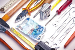 European money and tools to fix it Royalty Free Stock Photo