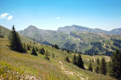 European mountains in summertime in Haute Savoie Royalty Free Stock Photography