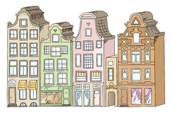 European multi-colored houses vector illustration Royalty Free Stock Photography