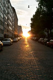European narrow street with parked cars Royalty Free Stock Photos